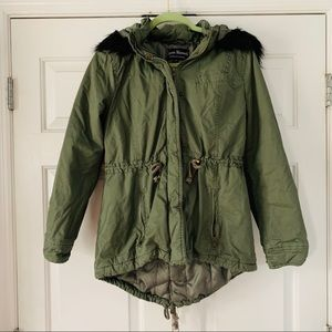 Jason Maxwell Olive with Faux Fur Coat Sz Med